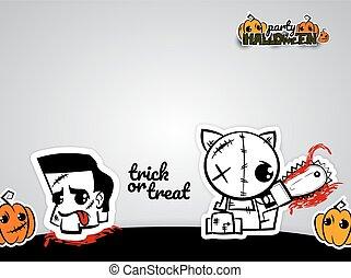 Helloween evil voodoo doll pop art comic