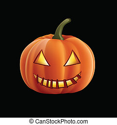Helloween Pumpkin Isolated on Black Background. Vector.