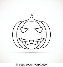 Helloween pumpkin outline icon