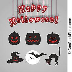 Helloween silhouettes clip-art