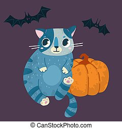 Helloween vector stock illustration with cute cat in a witch hat, bats and pumpkin