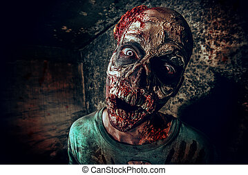hellraiser - Horrible scary zombie man on the ruins of an...