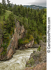 Hellroaring Creek Carves Through Canyon in Yellowstone Wilderness