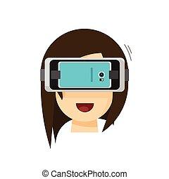 helm, über, person, beweglich, virtuelle wirklichkeit, telefon, vektor, spielende , brille