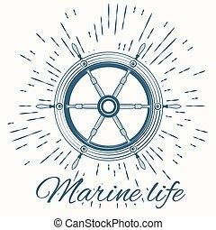 helm and vintage sun burst frame. Marine life