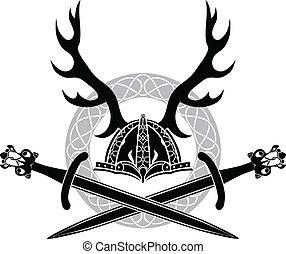 helm, antlers