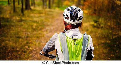 helm, beeld, vrouw, fiets, back