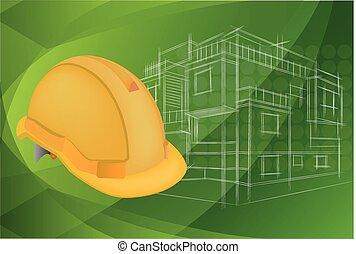 helm, beschermend, architectuur, illustratie