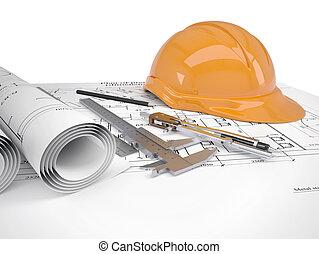 helm, bouwsector, gereedschap, werkjes