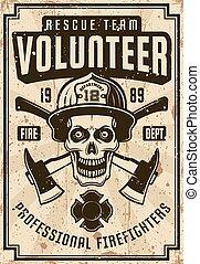 helm, brandbestrijders, poster, schedel, ouderwetse