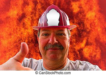 helm, brandweerman, verticaal