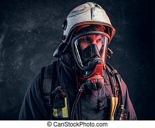 helm, close-up, zuurstof, brandweerman, mask., veiligheid, verticaal