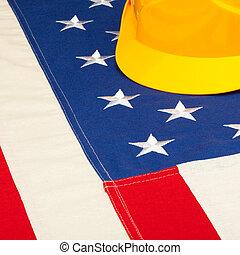 helm, concept, het leggen, op, -, Ons, vlag, bouwsector,...