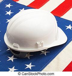 helm, concept, kleur, het leggen, op, -, Ons, vlag,...