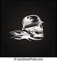helm, concept, schedel, vector, vlam, mal, ontwerp, zilver