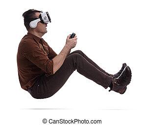 helm, feitelijk, spel, computer, spelend, man