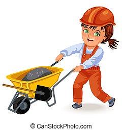 helm, frau, brötchen, bauunternehmer, hart, uniform, zement, starke , schubkarren, baugewerbe, arbeiten, m�dchen