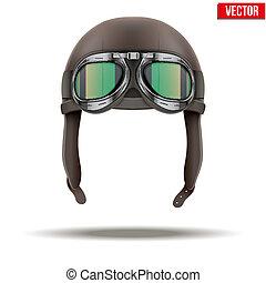 helm, freigestellt, flieger, retro, weißes, goggles., pilot