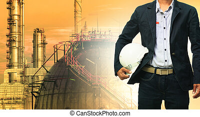 helm, gegen, sicherheit, raffinerie, mann stehen, technik, ...