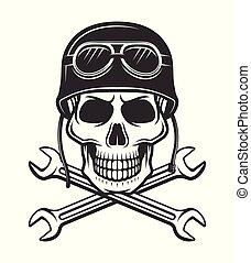 helm, gekreuzt, motorrad, totenschädel, schraubenschlüssel