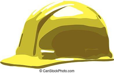 helm, hart, freigestellt, gelber , sicherheit, hintergrund, weißer hut