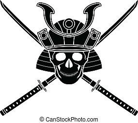 helm, japanner, zwaard, twee