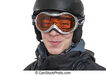helm, junger, freigestellt, schwimmbrille, lächeln, ski,...