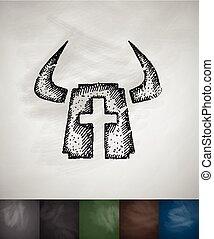 Helm knight icon. Hand drawn illustration