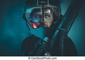helm, laser, sperren waffe, metallbalken, mann