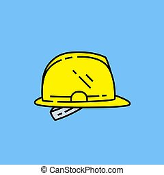 helm, linie, sicherheit, gelber , ikone