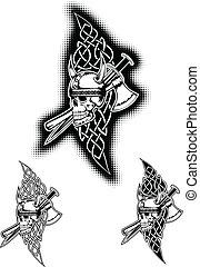 helm, motieven, keltisch, schedel