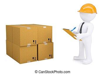 helm, notepad, volgende, dozen, menselijk, karton, 3d