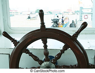 Helm on yacht
