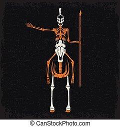 helm, pferd, grunge, skelett, speer, spartan