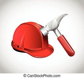 helm, pictogram, hamer