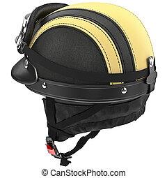 helm, schützend, leder, schwimmbrille, motorrad, ohren