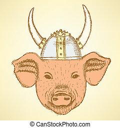 helm, schets, varken, viking