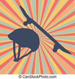 helm, schutz, bersten, abstrakt, skateboard, vektor