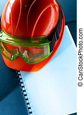 helm, schwimmbrille, rotes