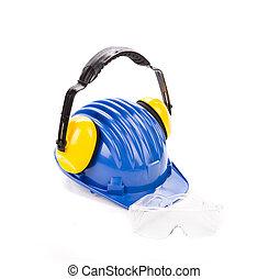 helm, sicherheit, blaues, kopfhörer