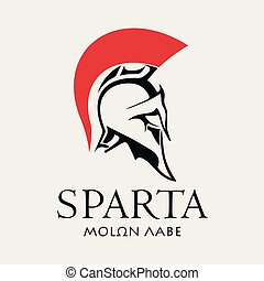 helm, spartan, oud, strijder