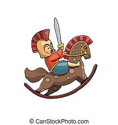 helm, spartan, pferd, sward, krieger, rockender , kind