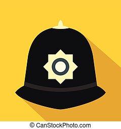 helm, stijl, politie, plat, brits, pictogram