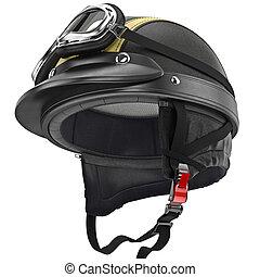 helm, stil, schützend, leder, retro, befestigung, ohren, motorrad
