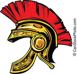 helm, trojan, spartan, vektor, maskottchen