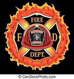 helm, vlammen, vuur, ouderwetse , kruis, afdeling, rood, vrijwilliger