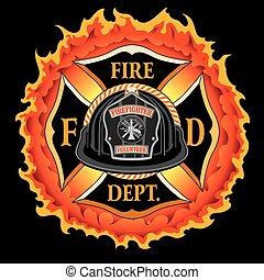 helm, vlammen, vuur, ouderwetse , kruis, black , afdeling, vrijwilliger