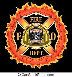 helm, vlammen, vuur, ouderwetse , kruis, gele, afdeling, vrijwilliger