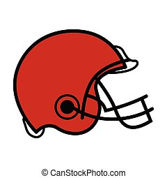 helm, voetbal, vrijstaand, pictogram