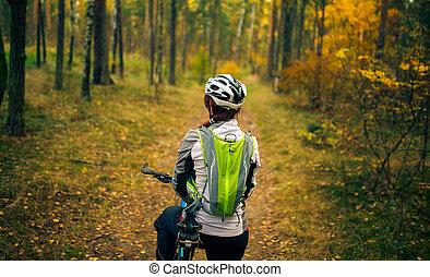 helm, vrouw, fiets, beeld, back, sporten